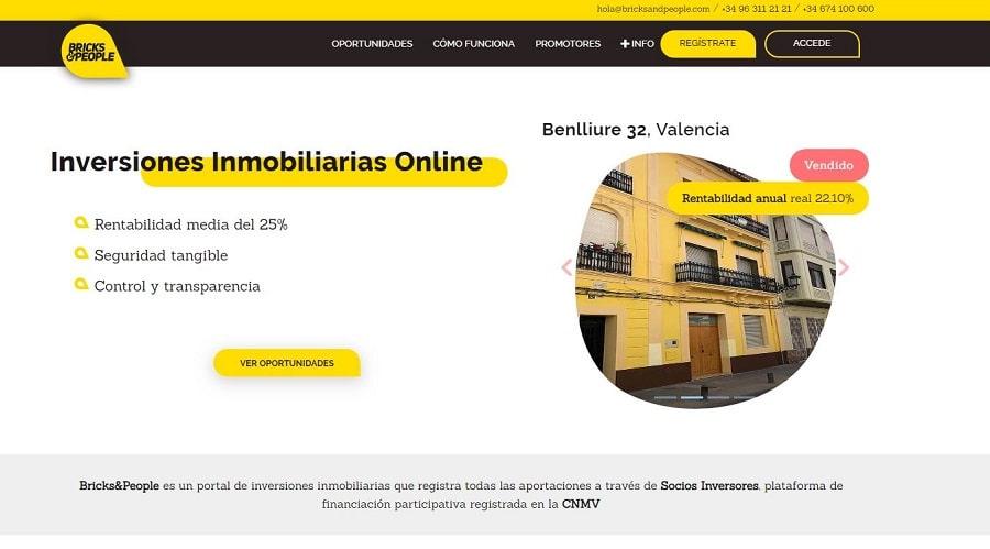 plataforma crowdfunding sector inmobiliario bricks & people